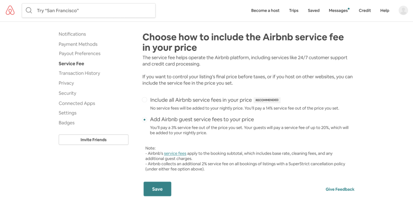 Airbnb - Zero Guest Fee: Choose how to include the Airbnb service